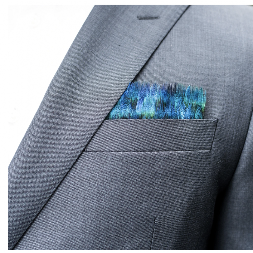 Peacock Pocket Square